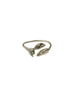 Produkt Buds ring yellow, with green zircon