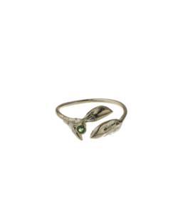 Produkt Prsten žluté pupeny se zeleným zirkonem