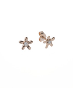 Produkt Náušnice pecky, růžové květy s průhledným zirkonem