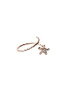 Produkt Prsten klíčící růžový květ s průhledným zirkonem