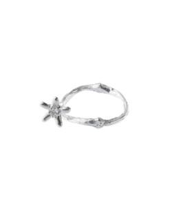 Produkt Prsten stříbrná větvička kávovníku s květem a průhledným zirkonem